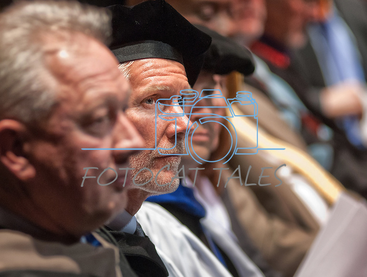 Regent Rick Trachok, Vice Chair NSHE Board of Regents listens to the commencement address at the WNC graduation in Fallon, Nev., on Tuesday, May 20, 2014. <br /> Photo by Kim Lamb