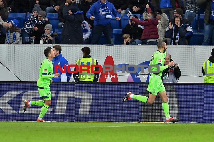 01.12.2018, wirsol Rhein-Neckar-Arena, Sinsheim, GER, 1 FBL, TSG 1899 Hoffenheim vs FC Schalke 04, <br /> <br /> DFL REGULATIONS PROHIBIT ANY USE OF PHOTOGRAPHS AS IMAGE SEQUENCES AND/OR QUASI-VIDEO.<br /> <br /> im Bild: Nabil Bentaleb (FC Schalke 04 #10) jubelt mit Alessandro Schöpf / Schoepf (FC Schalke 04 #28) ueber sein Tor zum 1:1<br /> <br /> Foto © nordphoto / Fabisch