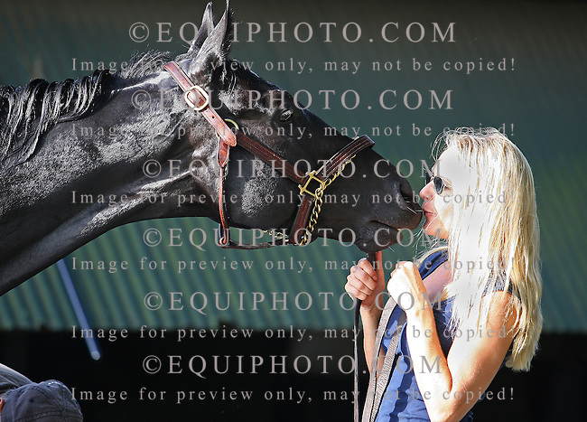 Haskell Contender Nonios gets a kiss on the nose from Assistant Trainer Christina Jelm during his morning bath at Monmouth Park on Friday July 27, 2012.  Nonios will take on 5 others, including morning line favorite Paynter in Sunday's $1 Million Haskell Invitational at Monmouth Park in Oceanport, New Jersey.  Photo By Bill Denver/EQUI-PHOTO.