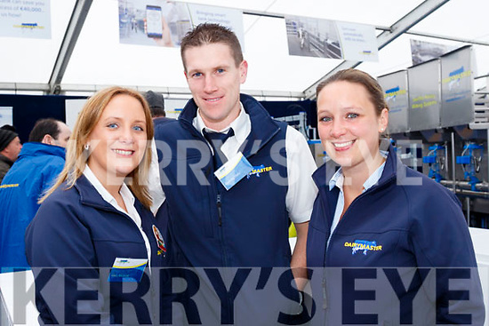 Fields<br /> --------<br /> Staff from Dairymaster, Causeway at their display marquee at the Ploughing championships, L-R Mary Mulvihill, Marketing, Padraig Harty, design engineer and Desiree Koldehoff, accounts manager.