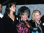 Brooke Shields, Liz Smith & Elizabeth Taylor.attending an APLA Aids Benefit in New York City.