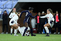 CHAPEL HILL, NC - NOVEMBER 16: Brianna Pinto #8 of the University of North Carolina is defended by Avery Nowak #3 and Kameron Ziesig #5 of Belmont University during a game between Belmont and North Carolina at UNC Soccer and Lacrosse Stadium on November 16, 2019 in Chapel Hill, North Carolina.