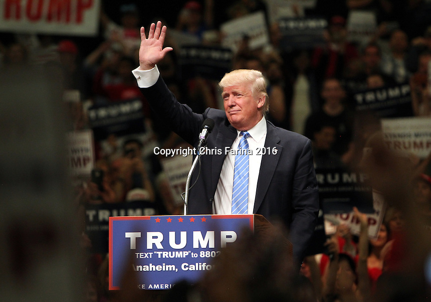 May 25, 2016 , Anaheim,Ca  --- Republican presidential candidate Donald Trump speaks at a campaign rally at the Anaheim Convention Center in Anaheim,California,  Wednesday, May 25,2016. <br />