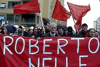 Roma, 28 Febbraio 2013.Cinecittà.Corteo per ricordare Roberto Scialabba, giovane del quartiere ucciso dai fascisti il 28 Febbraio 1978..Nella foto Paolo Morettini partigiano