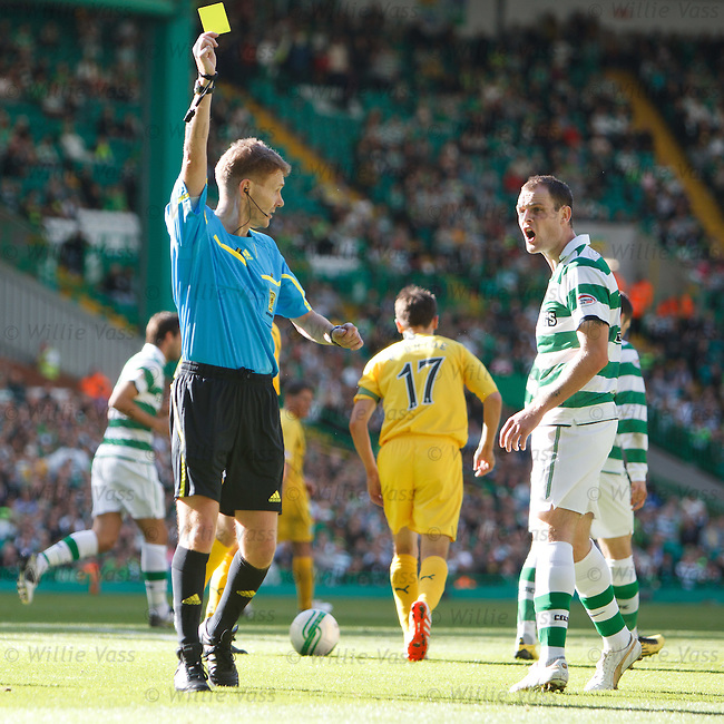 Anthony Stokes goes down in the box looking for a penalty and gets booked for simulation