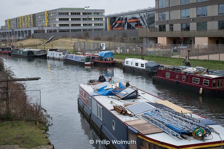 Houseboat on the River Lee Navigation, Hackney Wick.