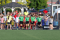 Rochester, NY - Friday May 27, 2016: The game officials lead the teams onto the field. The Western New York Flash defeated the Boston Breakers 4-0 during a regular season National Women's Soccer League (NWSL) match at Rochester Rhinos Stadium.