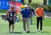 David Drysdale (SCO) & Matthew Nixon walk up the 18th tee during Round 1 of the ISPS HANDA Perth International at the Lake Karrinyup Country Club on Thursday 23rd October 2014.<br /> Picture:  Thos Caffrey / www.golffile.ie