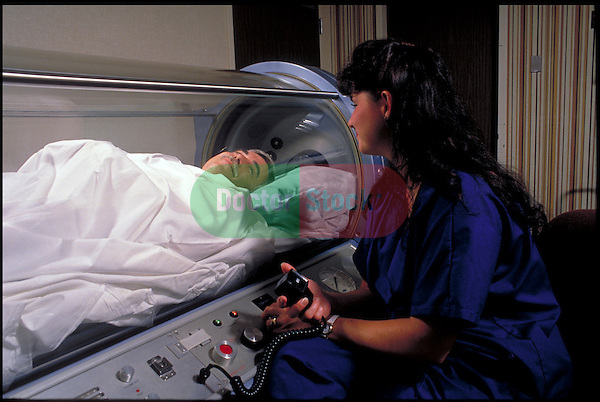 technician monitoring patient in Hyperbaric chamber