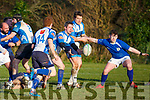 Tralee RFC's Richard Liston lays off to Jack Quilter as Tralee advance against Thomond in the Munster Junior Cup in O'Dowd Park on Sunday last.