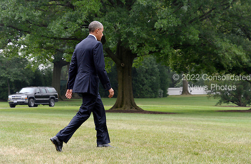 United States President Barack Obama walks to Marine One on the South Lawn of the White House June 16, 2016 in Washington, DC. Obama will travel to Orlando, Florida on Thursday to pay respects to the victims of Sunday's nightclub shooting and to stand in solidarity with the community.<br /> Credit: Olivier Douliery / Pool via CNP