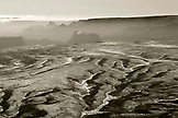 USA, Arizona, Page, aerial view of the desert South of Page, looking towards the North Rim of the Grand Canyon (B&W)
