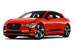 Stock pictures of low aggressive front three quarter view of a 2019 Jaguar I Pace S 5 Door SUV
