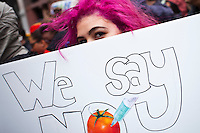 People protest against U.S.-based Monsanto Co. and genetically modified organisms (GMO), during a march in New York May 25, 2013 by Kena Betancur / VIEWpress