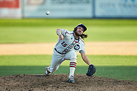 High Point-Thomasville HiToms relief pitcher KJ Wells Jr. (15) (Louisburg Community College) delivers a pitch to the plate against the Martinsville Mustangs at Finch Field on July 26, 2020 in Thomasville, NC.  The HiToms defeated the Mustangs 8-5. (Brian Westerholt/Four Seam Images)