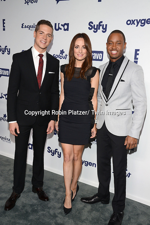Jason Kennedy, Catt Sandler and Terence Jenkins attend the NBCUniversal Cable Entertainment Upfront <br /> on May 15, 2014 at The Javits Center North Hall in New York City, New York, USA.