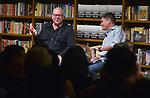 CORAL GABLES, FL - APRIL 19: Author and screenwriter Bret Easton Ellis in conversation and book signing with Rene Rodriguez (R) about Bret new book 'WHITE' at Books & Books on April 19, 2019 in Coral Gables, Florida. ( Photo by Johnny Louis / jlnphotography.com )