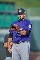 Albuquerque Isotopes starting pitcher Antonio Senzatela (49) before the game against the Salt Lake Bees at Smith's Ballpark on July 25, 2019 in Salt Lake City, Utah. The Bees defeated the Isotopes 8-3. (Stephen Smith/Four Seam Images)