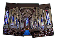 Adoration of Blessed Sacrament at St. Thomas Aquinas Catholic Church in Zanesville. Triptych showing church interior..