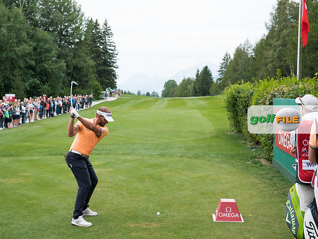 Joost Luiten (NED) in action on the 1st hole during final round at the Omega European Masters, Golf Club Crans-sur-Sierre, Crans-Montana, Valais, Switzerland. 01/09/19.<br /> Picture Stefano DiMaria / Golffile.ie<br /> <br /> All photo usage must carry mandatory copyright credit (© Golffile | Stefano DiMaria)