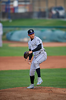 Grand Junction Rockies starting pitcher Anderson Amarista (32) delivers a pitch to the plate against the Ogden Raptors at Lindquist Field on September 9, 2019 in Ogden, Utah. The Raptors defeated the Rockies 6-5. (Stephen Smith/Four Seam Images)