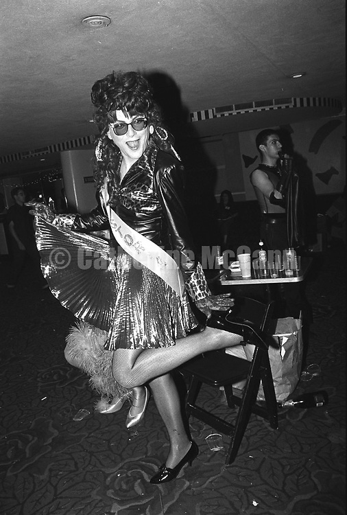 May 22, 1991:  Village Voice columnist Michael Musto poses for a photo in drag at the Love Ball on May 22, 1991 in New York City, New York.