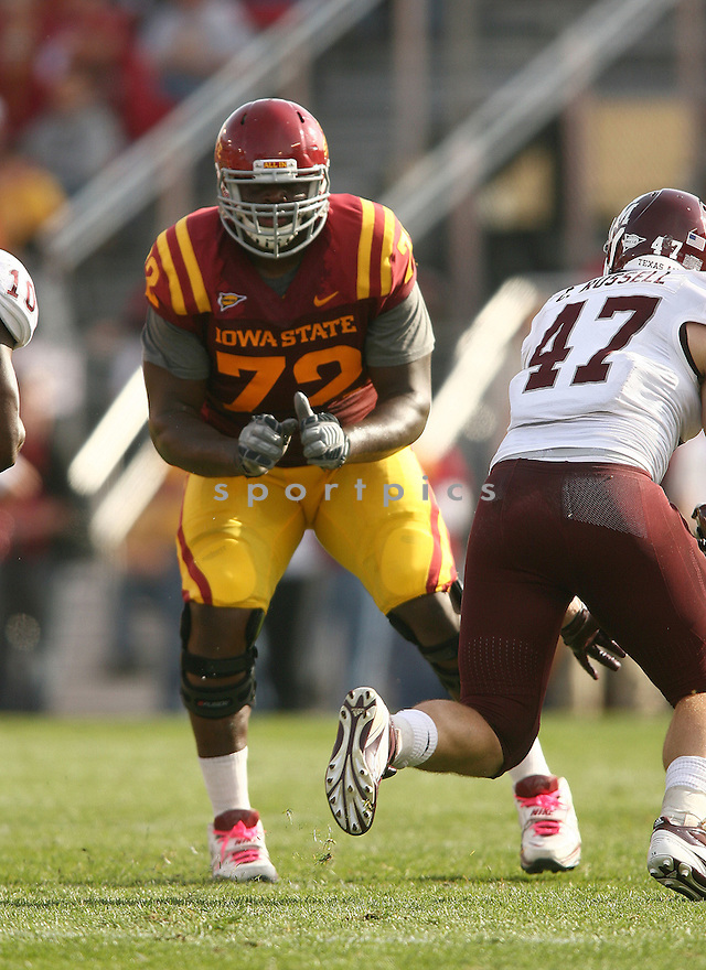 KELECHI OSEMELE, of the Iowa State Cyclones, in action during Iowa State's game against the Texas A&M Aggies on October 22, 2011 at Jack Trice Stadium in Ames, IA. Texas A&M beat Iowa State 33-17.