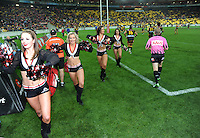 Cheerleaders welcome the teams onto the pitch during the NRL match between the NZ Warriors and Canterbury Bulldogs at Westpac Stadium, Wellington, New Zealand on Saturday, 11 May 2013. Photo: Dave Lintott / lintottphoto.co.nz