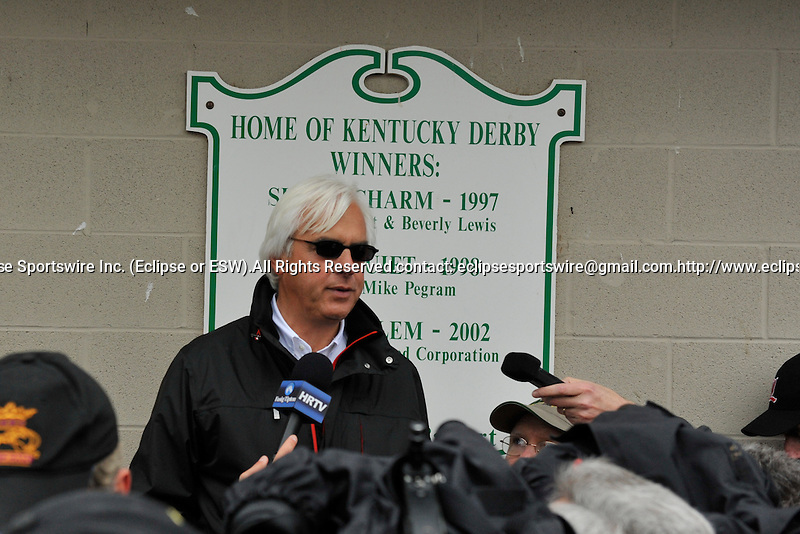 25 April 2010: Bob Baffert talks to the media after his charge, Lookin At Lucky breezed 5f at Churchill Downs in Louisville, Kentucky.