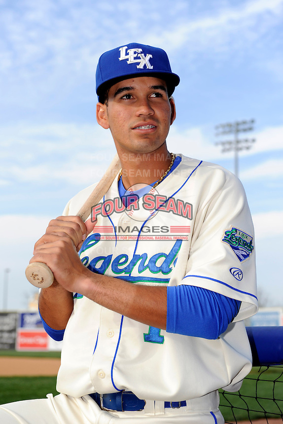 Lexington Legends shortstop Humberto Arteaga #1 poses for a photo before a game against the Greenville Drive on April 18, 2013 at Whitaker Bank Ballpark in Lexington, Kentucky.  Lexington defeated Greenville 12-3.  (Mike Janes/Four Seam Images)