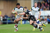 Amanaki Mafi of Bath Rugby goes on the attack. Aviva Premiership match, between Exeter Chiefs and Bath Rugby on February 28, 2016 at Sandy Park in Exeter, England. Photo by: Patrick Khachfe / Onside Images
