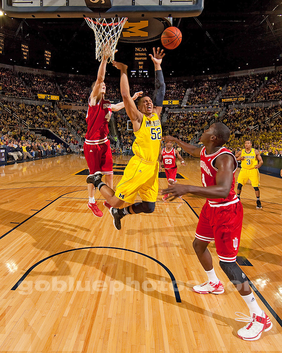 The University of Michigan men's basketball team beat No. 20 Indiana 68-56 at Crisler Center in Ann Arbor, Mich., on February 1, 2012.
