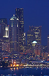 Seattle at night, Elliott Bay, Port of Seattle, Washington State, Pacific Northwest, USA,