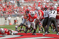Ohio State Buckeyes running back Jordan Hall (2) scores a touchdown in the first quarter of a football game between the Ohio State Buckeyes and the San Diego State Aztecs on Sept. 7, 2013 at Ohio Stadium. (Columbus Dispatch photo by Fred Squillante)
