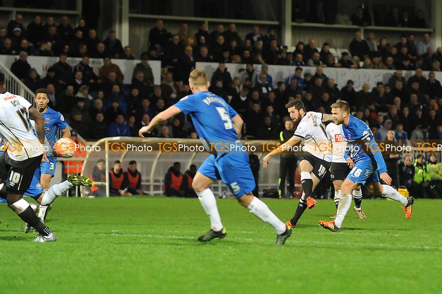 Jacob Butterfield of Derby County equalises for Derby County during Hartlepool United vs Derby County at Victoria Park