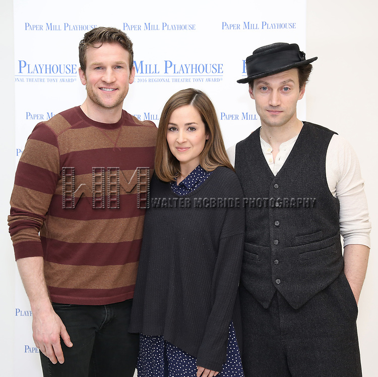 "Claybourne Elder, Hannah Elless and Bryce Pinkham during the meet the cast photo call for the Paper Mill Playhouse production of  ""Benny & Joon"" at Baza Dance Studios on 3/21/2019 in New York City."
