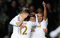 Sunday, 28 November 2012<br /> Pictured: Wayne Routledge of Swansea (R) celebrating his goal with team mates L-R Ben Davies, Nathan Dyer and Pablo Hernandez.<br /> Re: Barclays Premier League, Swansea City FC v West Bromwich Albion at the Liberty Stadium, south Wales.