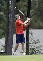 June 23, 2008:  Former Seattle SuperSonics Jim Mcllvaine watches his ball sale down the fairway of hole #3 while playing in the Detlef Schrempf celebrity golf classic held at McCormick Woods golf club in Port Orchard, WA.
