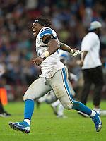 26.10.2014.  London, England.  NFL International Series. Atlanta Falcons versus Detroit Lions. Lions' DE Ezekie lAnsah [94] celebrates the last minute win over Atlanta.