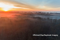 63895-16902 Sunrise and fog Stephen A. Forbes State Park-aerial-Marion Co. IL