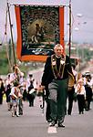 Reverend Ian Paisley Orange Day Parade, Ballymoney Northern Ireland, 1981. 1980s UK.