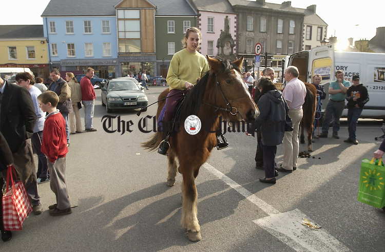 Making the most of a good vantage point to see all the stock at the horse fair in Kilrush. Photograph by John Kelly.