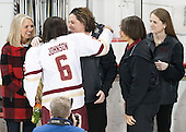 ?, Kaliya Johnson (BC - 6), Courtney Kennedy (BC - Associate Head Coach), Kelli Johnson, Katie Crowley (BC - Head Coach) - The Boston College Eagles defeated the visiting Providence College Friars 7-1 on Friday, February 19, 2016, at Kelley Rink in Conte Forum in Boston, Massachusetts.