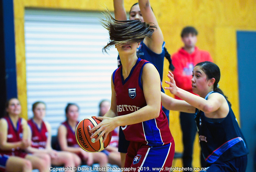 Action from the 2019 Schick AA Girls' Secondary Schools Basketball Premiership National Championship match between Rangitoto College and One Tree Hill College at the Central Energy Trust Arena in Palmerston North, New Zealand on Monday, 30 September 2019. Photo: Dave Lintott / lintottphoto.co.nz