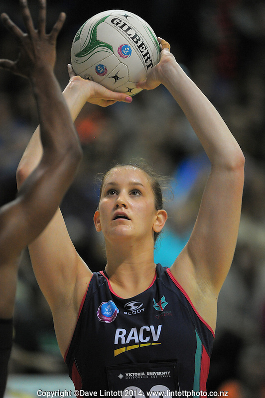 Karyn Bailey shoots for goal during the ANZ Netball Championship match between the Central Pulse and Melbourne Vixens at TSB Bank Arena, Wellington, New Zealand on Saturday, 8 March 2014. Photo: Dave Lintott / lintottphoto.co.nz