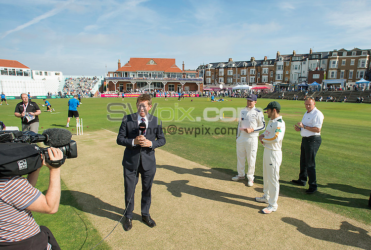Picture by Allan McKenzie/SWpix.com - 23/08/2016 - Cricket - Specsavers County Championship - Yorkshire County Cricket Club v Nottinghamshire County Cricket Club - North Marine Road, Scarborough, England - Sky TV begin their introduction to the game on the square.