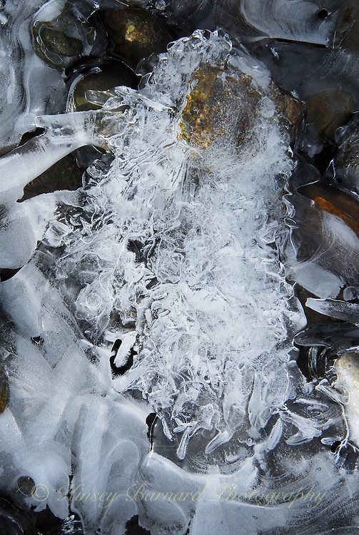 Ice forming along the shores of the Tobacco River in Montana