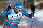 Yulia Belorukova in action at the sprint qualification of the FIS Cross Country Ski World Cup  in Dobbiaco, Toblach, on January 14, 2017. Credit: Pierre Teyssot