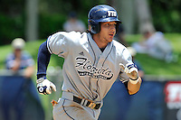 22 May 2010:  FIU's Garrett Wittels (10) runs to first in the first inning as the Florida Atlantic University Owls defeated the FIU Golden Panthers, 14-10, at FAU Stadium in Boca Raton, Florida.  With his double in the third inning, Wittels surpassed Wichita State's Phil Stephenson (47 straight games, 1981), to become the second-longest hitting streak in Division I history, and pulling within 10 games of Oklahoma State's Robin Ventura, who holds the NCAA record with a 58-game hitting streak in 1987.
