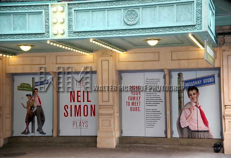 """Theatre Marquee for the Opening Night of Neil Simon's """"Bighton Beach Memoirs""""  at the Nederlander Theatre in New York City.<br />October 25, 2009<br />© Walter McBride /"""